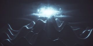 Blue polygonal mountains. Abstract blue polygonal mountains with light. Technology, hi-tech, creativity concept. 3D Rendering Stock Photo