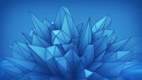 Blue polygonal shape. Abstract 3d render Royalty Free Stock Photo