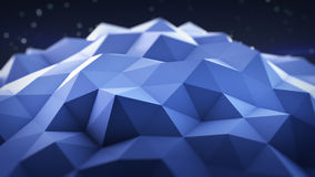 Blue polygonal shape 3D render. Blue polygonal shape. Abstract geometrical modern background. 3D render illustration Stock Photo