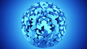 Blue polygonal sphere abstract 3D render. Blue polygonal sphere. Computer generated abstract 3D render illustration Royalty Free Stock Photos