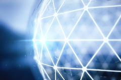 Blue polygonal sphere Stock Photography