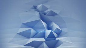 Blue polygonal surface waving 3D rendering. Abstract geometrical modern background with DOF Royalty Free Stock Image