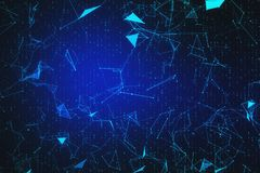 Blue polygonal wallpaper. Bright blue polygonal wallpaper with connections. AI and innovation concept. 3D Rendering stock illustration