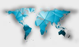 Blue polygonal world map with shadow Royalty Free Stock Photography