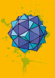 Blue polyhedron with hand drawn hatching on yellow background Stock Images