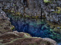 Blue pond. This is a HDR photo of a blue pond in Iceland, which is unusually blue because of minerals in the water(though HDR, colors kept natural here!). In royalty free stock photo