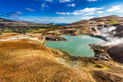 Blue pond on a volcanic mountain, Iceland Royalty Free Stock Photography