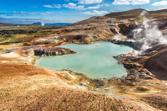Blue pond on volcano area in Iceland Stock Photo