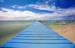 Blue pontoon Royalty Free Stock Image