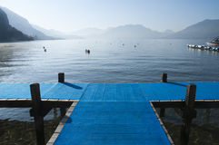 Blue pontoon Cross on lake annecy Royalty Free Stock Photography