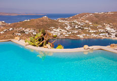 Blue Pool on a background of sky and sea in Greece. Stock Photos