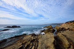 The Blue Pool, Bermagui. Bermagui`s famous Blue Pool is a `must see` Sapphire Coast attraction. It is located off Pacific Drive at the base of a dramatic rocky royalty free stock photography