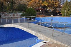 Blue pool bridge Royalty Free Stock Photography