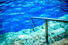 Blue pool. A stair with a stainless ram in a blue pool of fresh water Royalty Free Stock Photography