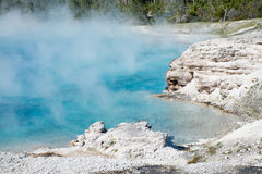 Blue Pool. This was one of the thermal pools at Yellowstone National Park. I really enjoyed the shades of blue in the pool and the steam rising from the waters Royalty Free Stock Images