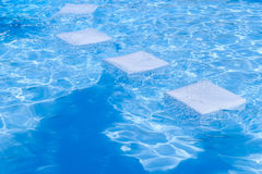 Blue pool water with sun reflections Royalty Free Stock Image