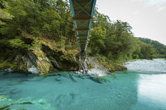 Blue Pools in Mount Aspiring National Park. New Zealand royalty free stock image