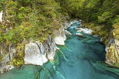 Blue Pools in Mount Aspiring National Park. New Zealand royalty free stock photography