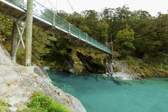 Blue Pools in Mount Aspiring National Park Stock Photo
