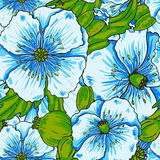 Blue poppy flowers pattern Stock Photography