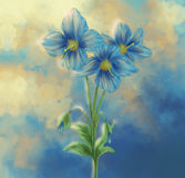 Blue Poppy painting with Surreal Cloud Royalty Free Stock Photography