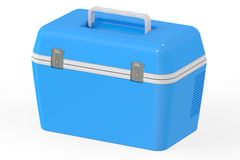 Blue portable cooler, 3D rendering Royalty Free Stock Photo
