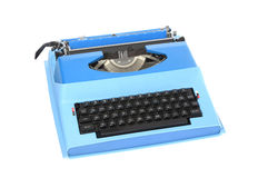 Blue Portable Electric Typewriter Isolated on White Stock Photography