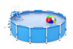 Blue Portable Outdoor Round Swimming Water Pool with Ladder and. Beach Ball on a white background. 3d Rendering Stock Photo