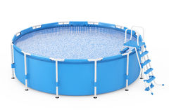 Blue Portable Outdoor Round Swimming Water Pool with Ladder. 3d Royalty Free Stock Photos