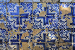 Blue portuguese tiles on the wall Royalty Free Stock Images