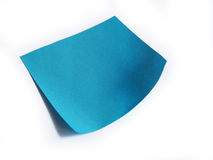 Blue Post-it. Curled blue post-it note on white background Stock Image