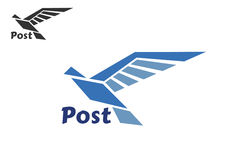 Blue postal bird abstract symbol Royalty Free Stock Photos