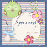 Blue postcard. Baby shower postcard in a scrapbook stile with a green bird Stock Photos