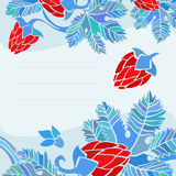 Blue postcard with floral decoration. Blue card with floral pattern based on hops flowers and leaves Royalty Free Stock Image