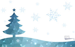 Blue postcard low polygon style christmas tree  illustration consisting of triangles. Stock Images