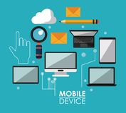Blue poster with common mobile devices and icons. Vector illustration Stock Photography