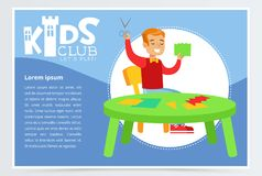 Blue poster for kids club with cheerful boy character making applique. Paper crafts class. Extra-curricular activities. Blue poster for kids club with boy Stock Photography