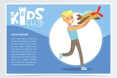 Blue poster for kids club with smiling boy character playing with plane model. Happy childhood activity concept Stock Image