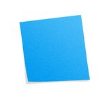 Blue postit. Note with white background Stock Photography