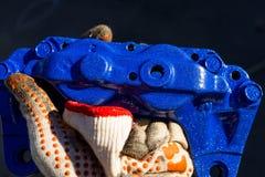 Blue 4 pot brake caliper Royalty Free Stock Photos
