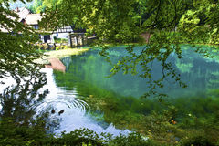 The Blue pot. The blue is a 14.5 km long river left tributary of the Danube in the east of Baden-Württemberg (Germany). It rises in Blaubeuren (Alb-Donau-Kreis Royalty Free Stock Photo