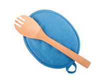 Blue pot older with a wooden spoon Royalty Free Stock Image