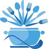 Blue pot with spoons and forks -1 Royalty Free Stock Photos