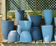 Blue pots Stock Photos