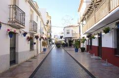 Blue pots in street of Estepona Stock Photo