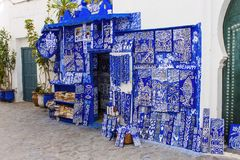 Blue pottery for sale for happiness, Larche, Morocco Royalty Free Stock Photography