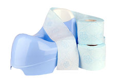 Blue potty. With toilet paper royalty free stock photos