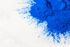 Blue powder on white Royalty Free Stock Photo