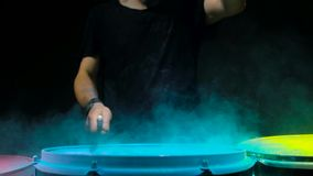 Blue powder explosion isolated on black background. stock footage