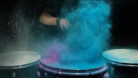 Blue powder explosion isolated on black background. Color powder explosion isolated on black background. Shot with high speed cinema camera stock video footage